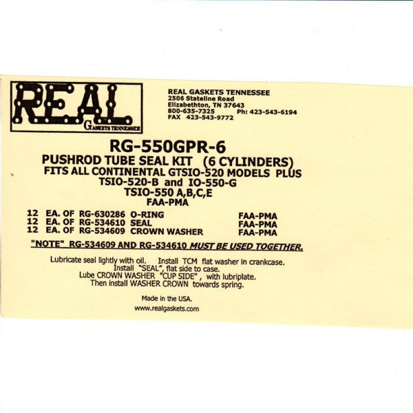 RG-550GPR-6 Label and Instructions silicone rubber valve cover gaskets