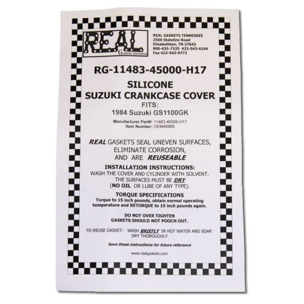 RG-11483-45000-2 instructions for silicone rubber valve cover gaskets