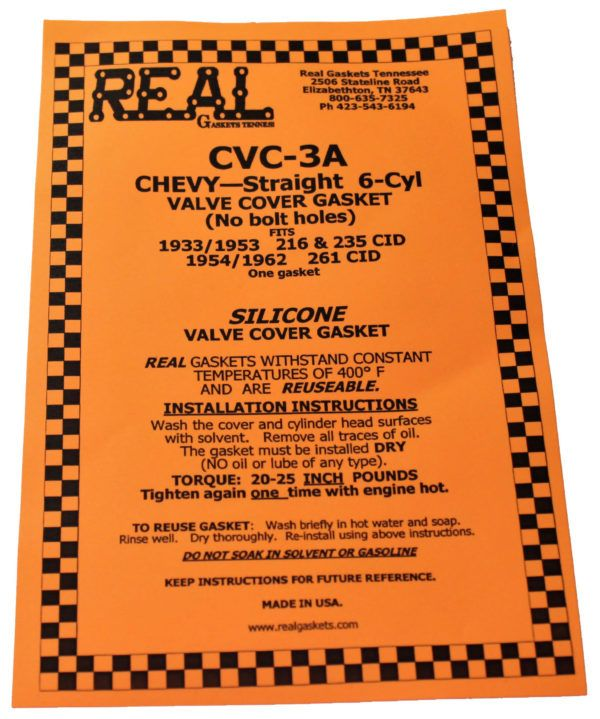 CVC-3 Label for silicone rubber valve cover gaskets