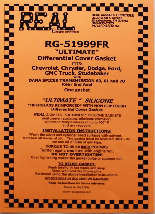 RG-51999FR label Silicone Rubber Valve Cover Gaskets