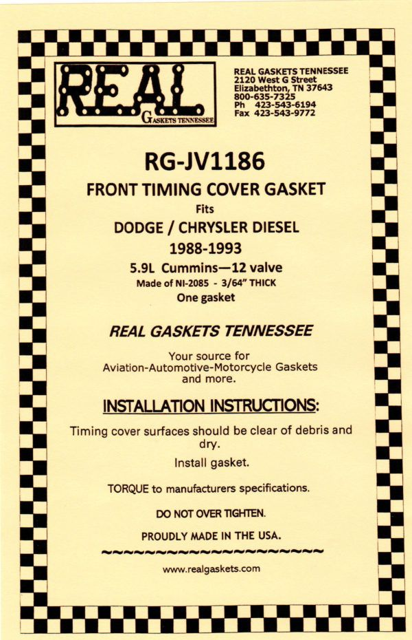 RG-JV1186 label Silicone Rubber Valve Cover Gaskets